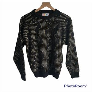 Vintage black and gold sweater